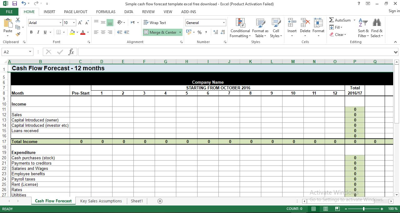 Simple cash flow forecast template excel free download