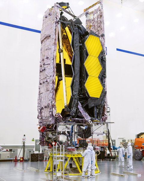 At the Northrop Grumman facility in Redondo Beach, California, NASA's James Webb Space Telescope is stowed in its launch configuration prior to being transported to Kourou, French Guiana to be prepped for flight aboard the European Space Agency's Ariane 5 rocket later this year.
