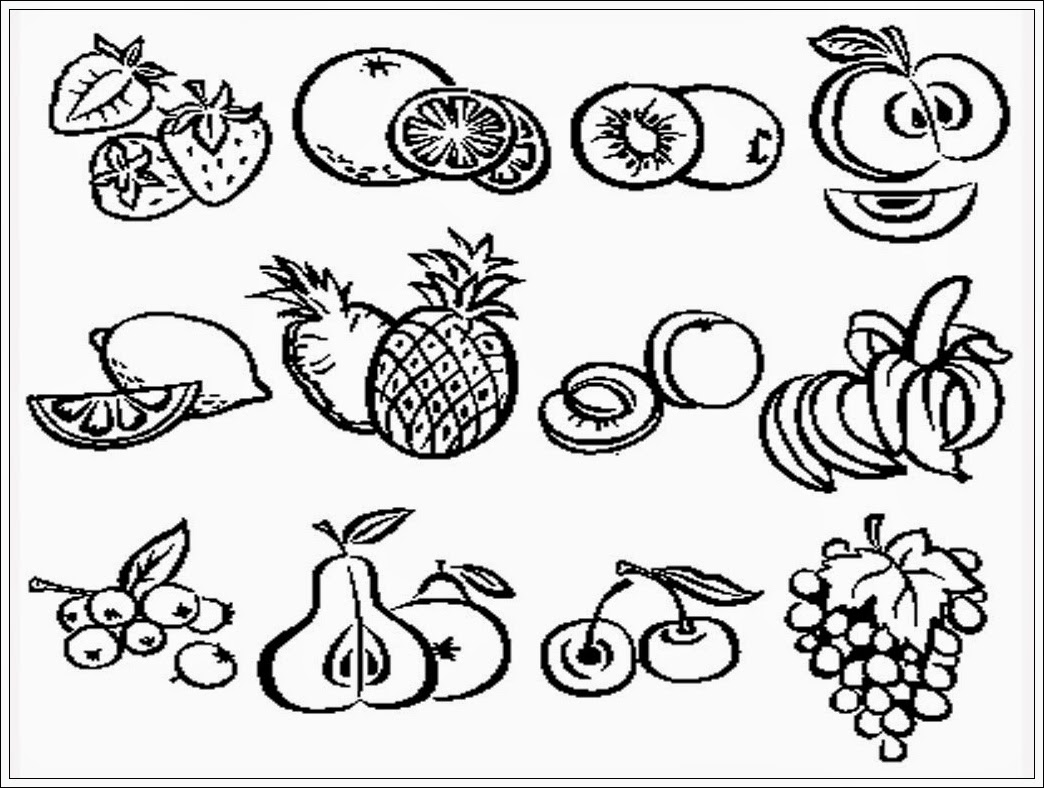 mewarnai gambar aneka jenis buah