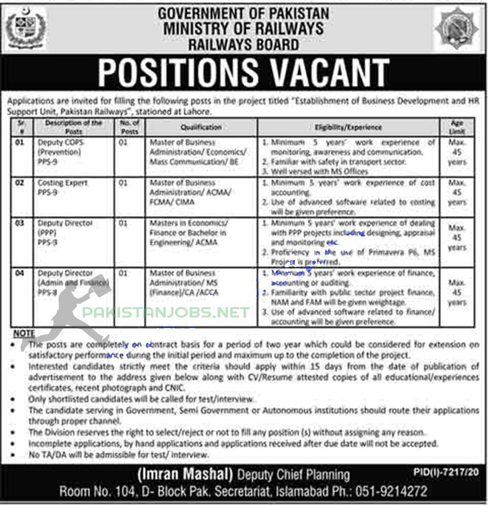 Pakistan Railways Jobs Latest 2021