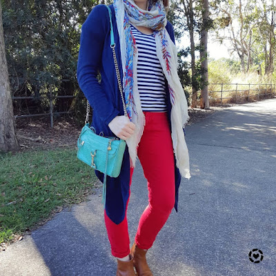 awayfromblue Instagram park playground SAHM outfit colourful winter layers navy cardigan scarf stripe tee red skinny jeans