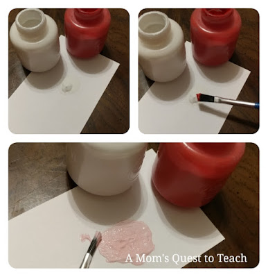mixing red and white to make pink paint