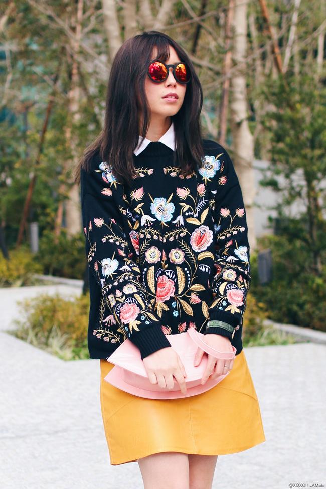 日本人ファッションブロガー,MizuhoK,今日のコーデ,20170311,Sammydress-花柄刺繍セーター,Zaful-イエローフェイクレザーAラインスカート,vonBraun-オックスフォードシューズ,zeroUV-ミラーラウンドサングラス,Uniqlo-イネスコラボシャツ,くちびるデザインバッグ, グッドガールカジュアルコーデ