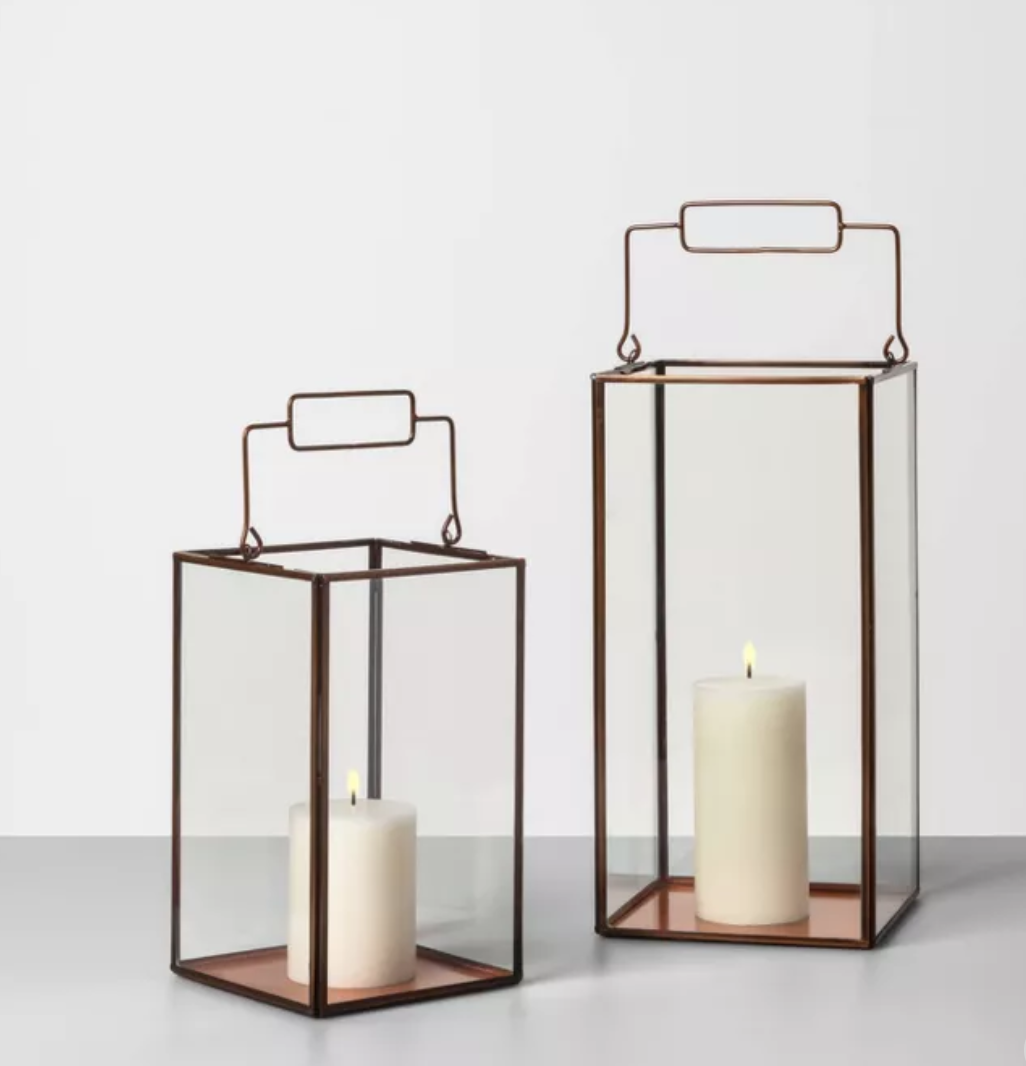 Copper lanterns in or outside fall decor