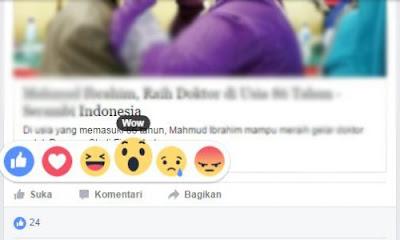 emotikon fitur reaksi pada facebook