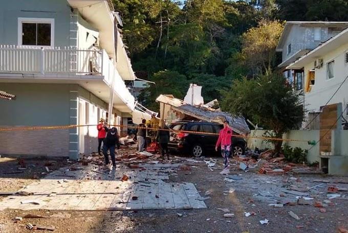 Explosão de gás desaba quitinetes no bairro Jurerê em Florianópolis; uma mulher estaria entre os escombros