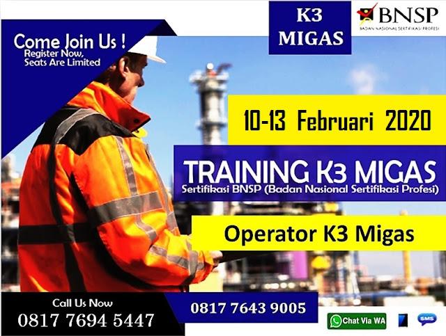 Training Operator K3 Migas tgl. 10-13 Februari 2020