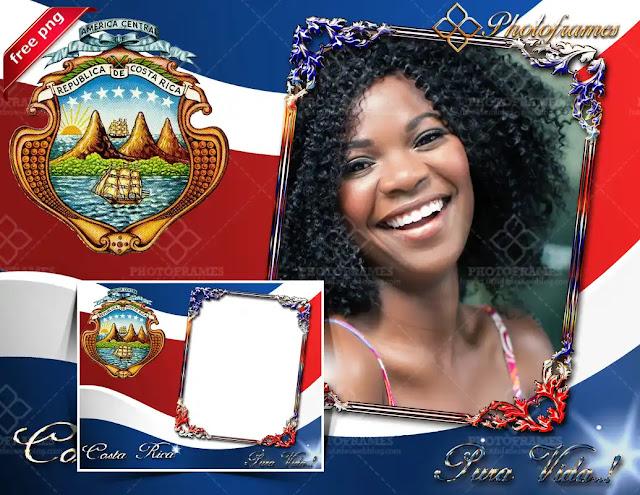 Marco digital con la bandera y escudo de Costa Rica