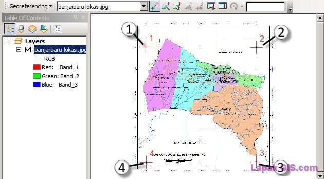Posisi GCP pada peta scan