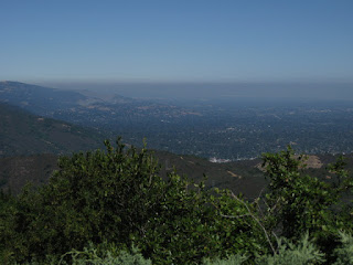 Smog layer above the Santa Clara Valley, view from Soda Springs Road, Los Gatos, California
