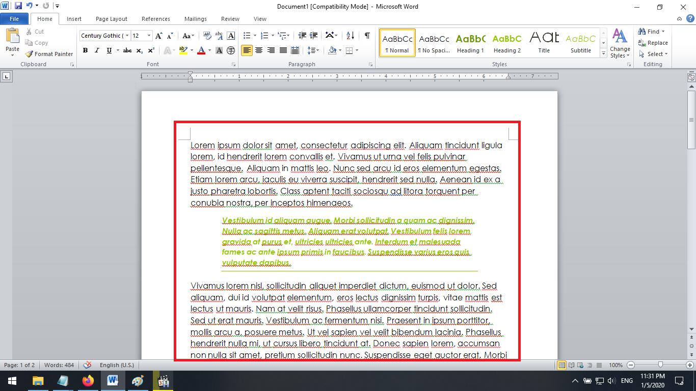 klik untuk menerapkan tema di dokumen