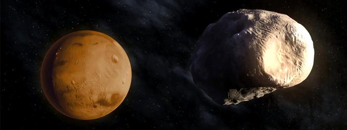 irmão perdido da Lua encontrado atrás de Marte