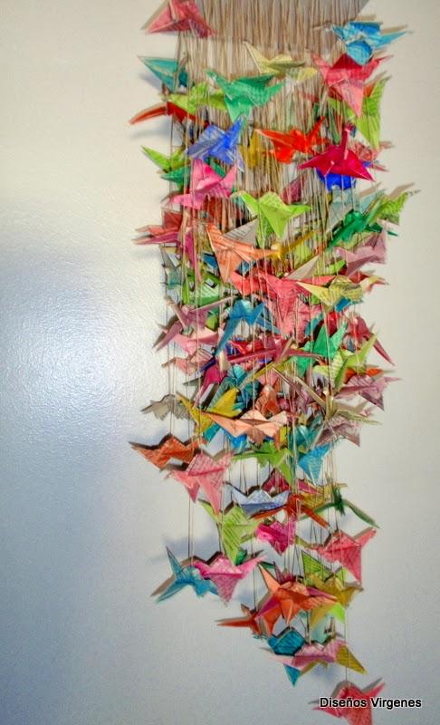 Origami Instalacion 150 grullas  Alegrando Espacios