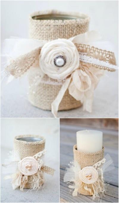 Gunakan kain/karung goni untuk melapisi kaleng bekas supaya jadi tempat lilin rustic