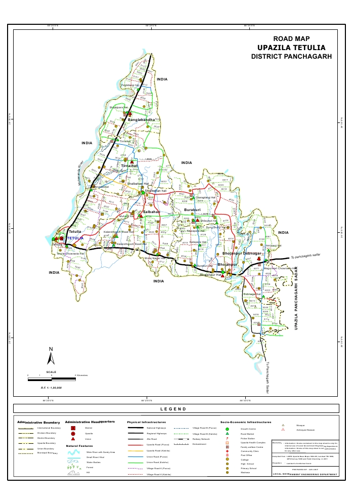 Tentulia Upazila Road Map Panchagarh District Bangladesh