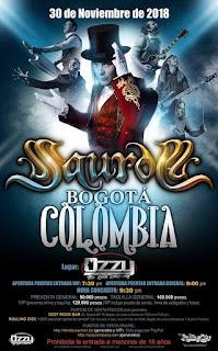 Concierto de SAUROM en Bogotá 2018