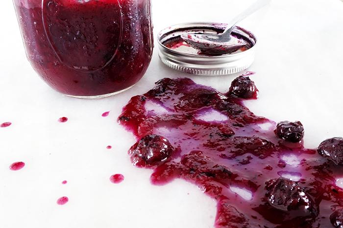 spilled blueberry sauce