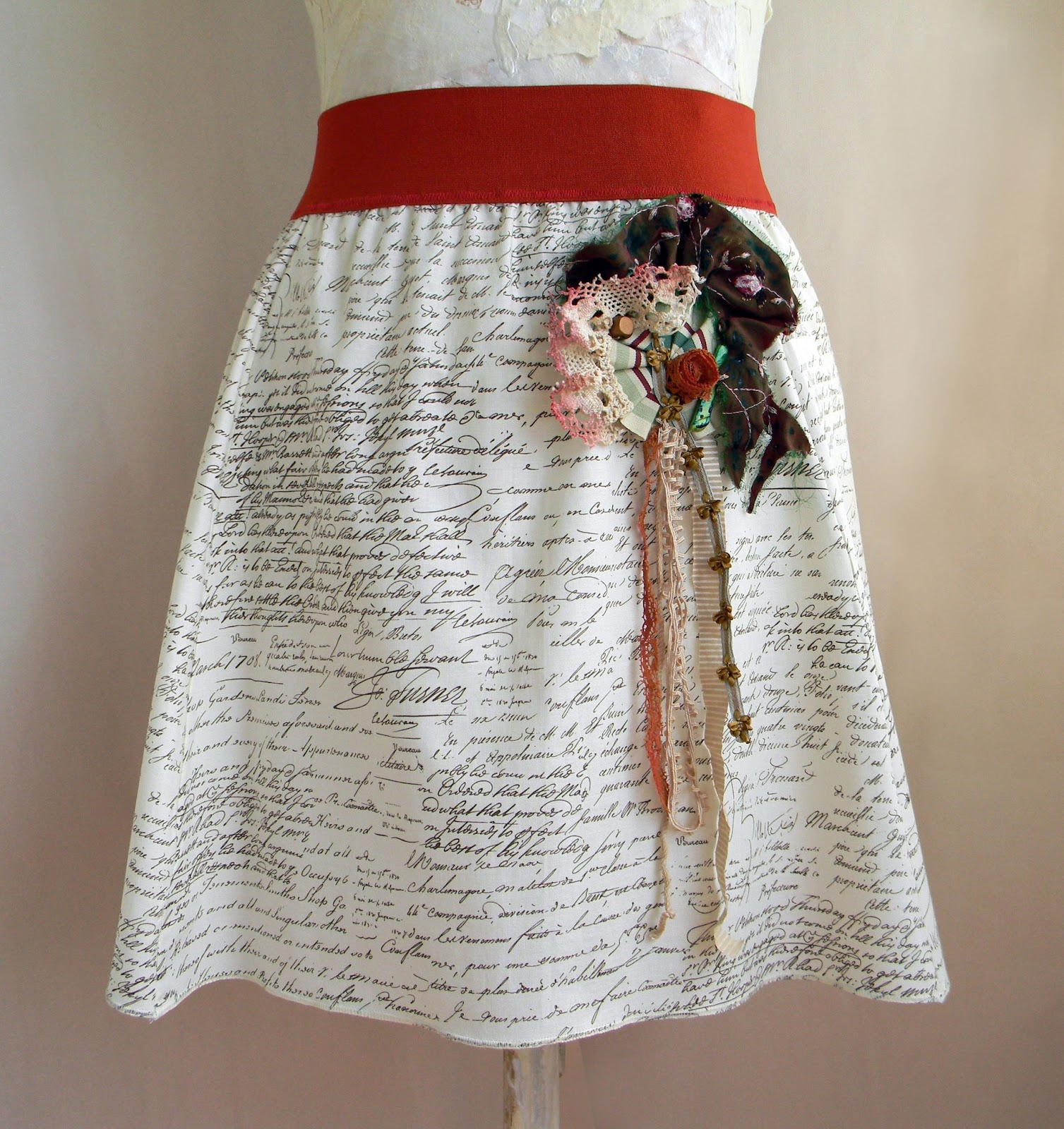 Unique Handcrafted Skirt Cotton Skirt Original Fashion Skirt