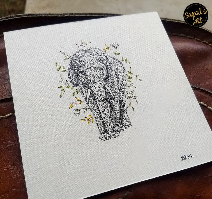 12-My-Favourite-Animal-The-Elephant-Sayali-Horambe-Stippling-Dots-and-Creating-Drawings-www-designstack-co