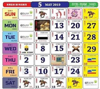 Kalendar Mei 2019