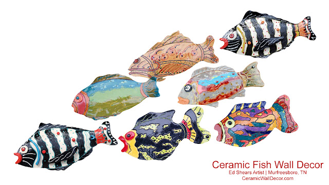 Handmade Ceramic Fish Wall Art - CeramicWallDecor - Ed Shears Artist - Murfreesboro, TN