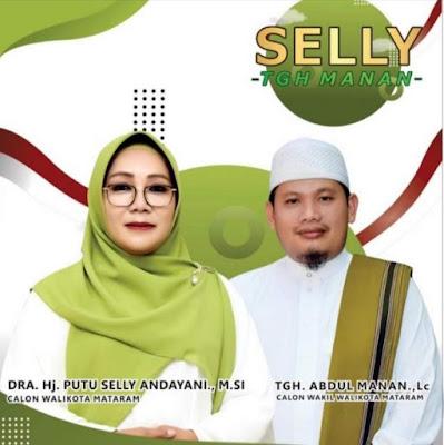 Pasangan Calon Walikota dan Wakil Walikota Mataram, Hj. Putu Selly Andayani dan TGH. Abdul Manan (SALAM)