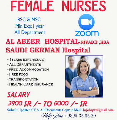 Urgently Required Staff Nurses to Reputed Hospitals in Saudi Arabia
