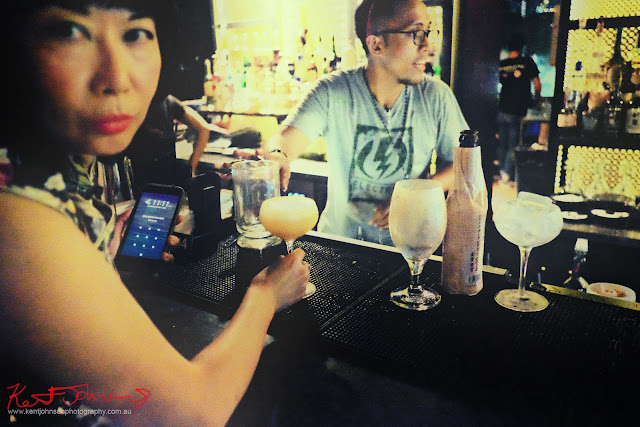 Drinks at the bar, Singapore. Photo by Kent Johnson for Street Fashion Sydney.