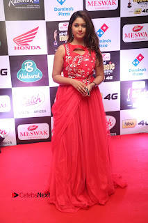 Actress Poonam Bajwa Pictures in Red Long Dress at Mirchi Music Awards South 2015  0108.JPG