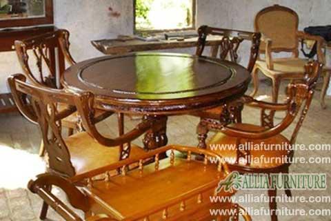 meja kursi makan ukiran angsa salira