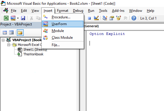Open VBA editor and click insert