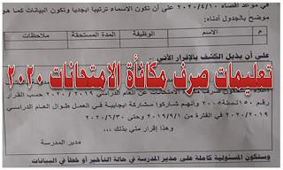 تعليمات صرف مكافأة الامتحانات ٢٠٢٠ واقرار علي مدير المدرسة