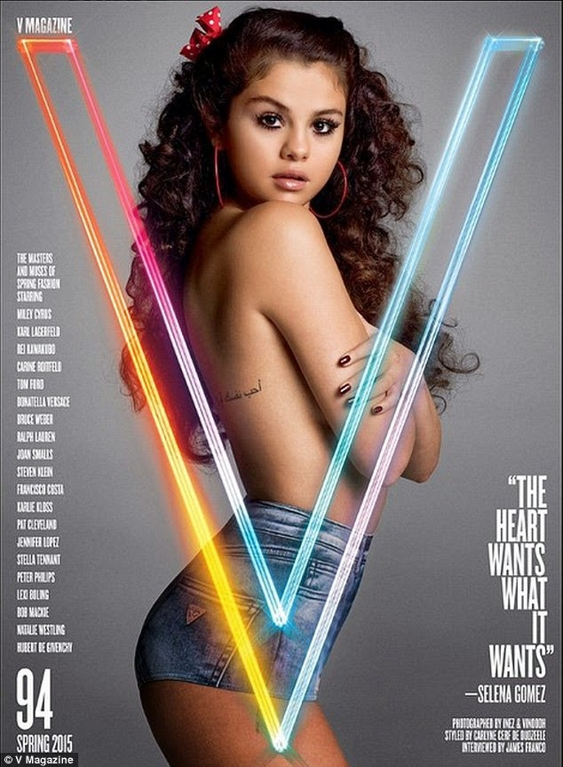 Topless Selena Gomez booty shorts for sultry magazine cover shoot