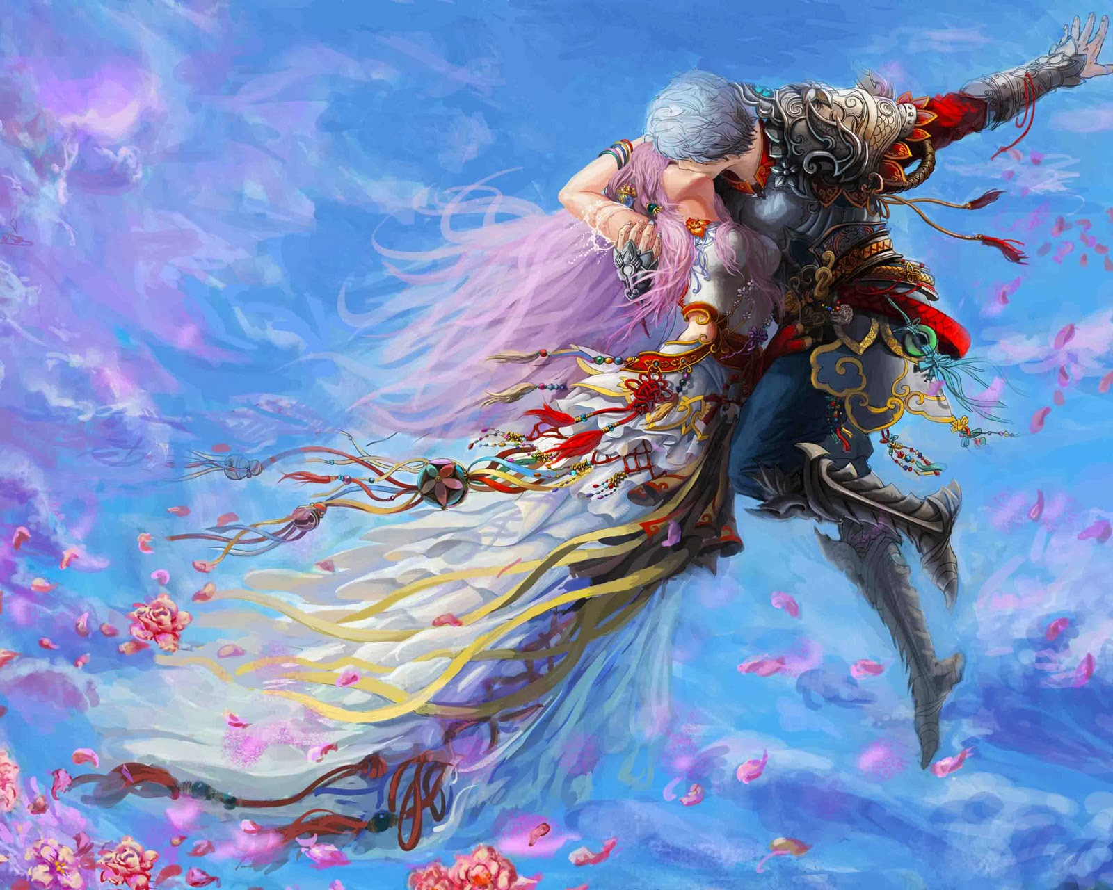 Love Wallpaper Painting : Romantic Lovers Paintings Digital Art cG Pictures Free ...