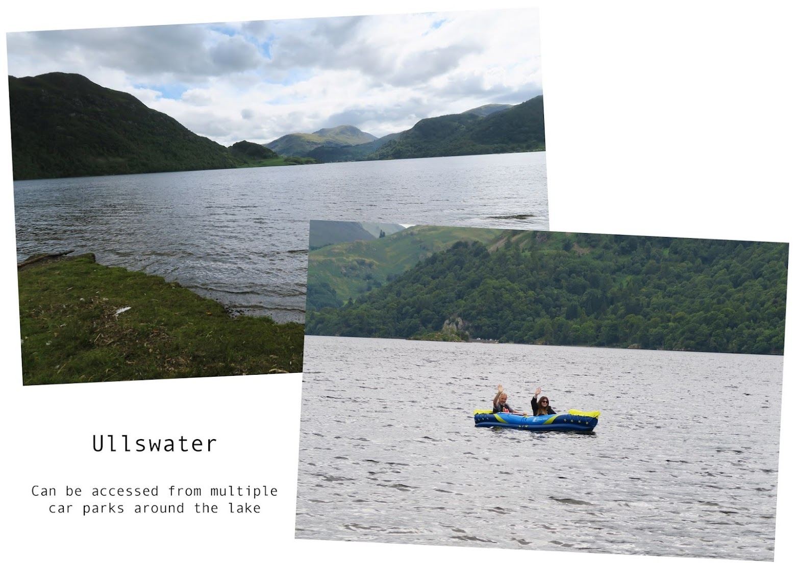 two images. the first image is a view of Ullswater lake from the shore. The second image is of Grace and her father in a blow up kayak