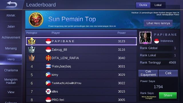 Berikut ini adalah Build Sun Tersakit dan Terkuat Equipment top 1 global Terbaru yang wajib kamu gunakan.