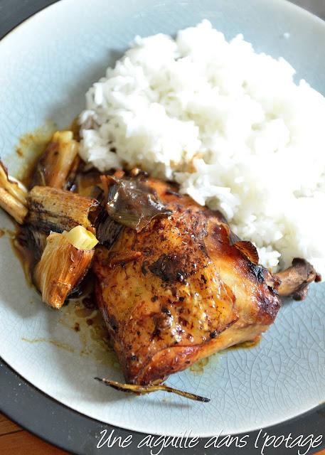 Poulet rôti, sauce huître et oignons de printemps/ cuisine asiatique