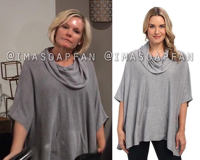Ava Jerome, Maura West, Grey Cowlneck Poncho Sweater, General Hospital, GH