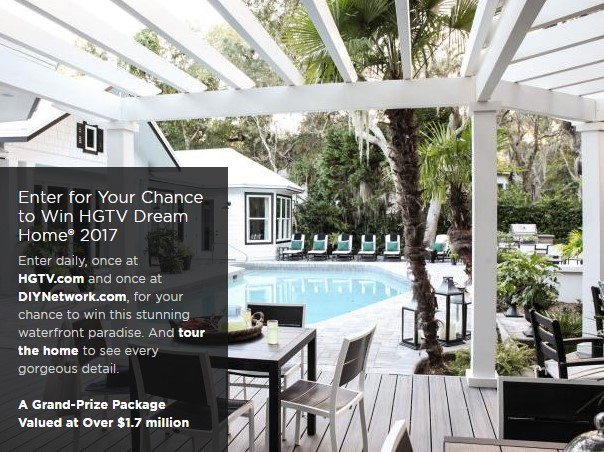 HGTV is taking daily entries, beginning today, for a chance to win their completely furnished HGTV Dream Home 2017, a Honda Pilot and a QUARTER OF A MILLION DOLLARS!!!