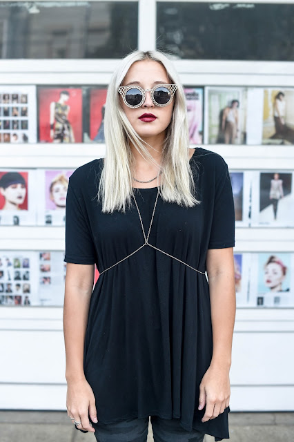 body chain | black tee | edgy style