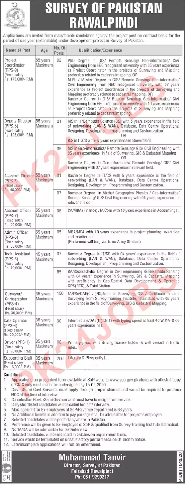 Survey-of-Pakistan-Rawalpindi-Jobs-2020-PK24JOBS
