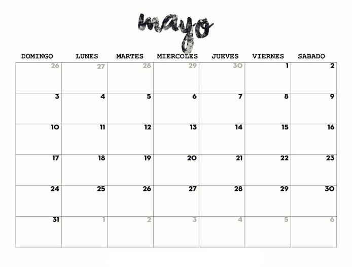 calendario 2020 de mayo para imprimir