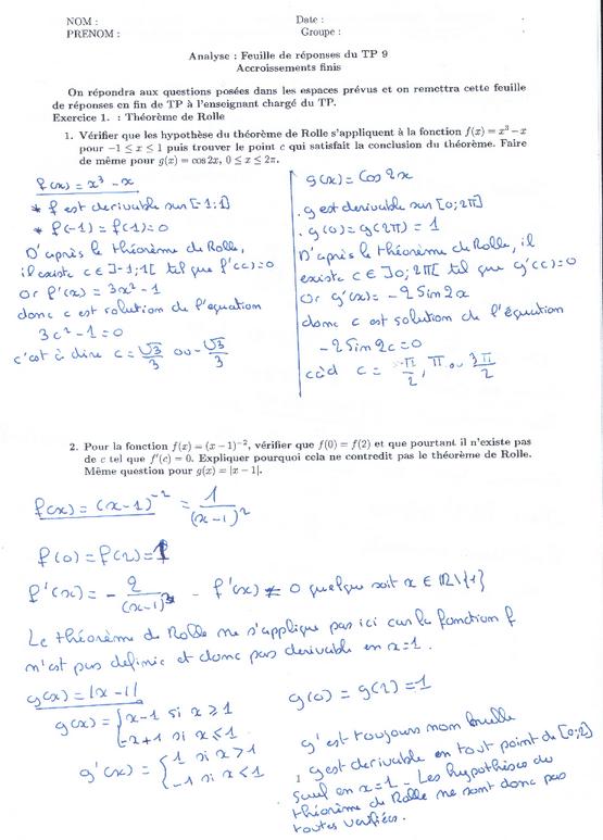exercices corrigés sur Théorème des accroissements finis