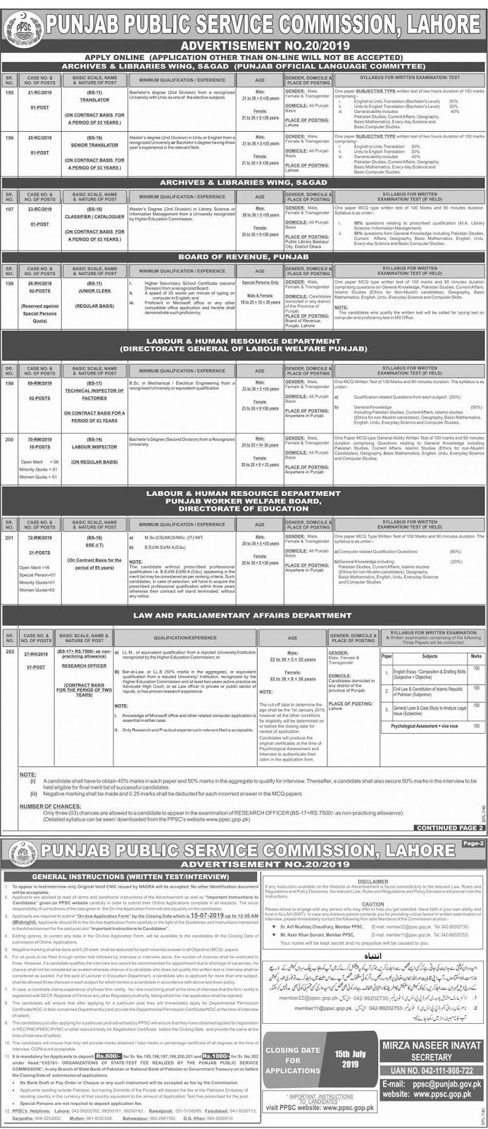 Jobs in PPSC Advertisement No. 20/2019