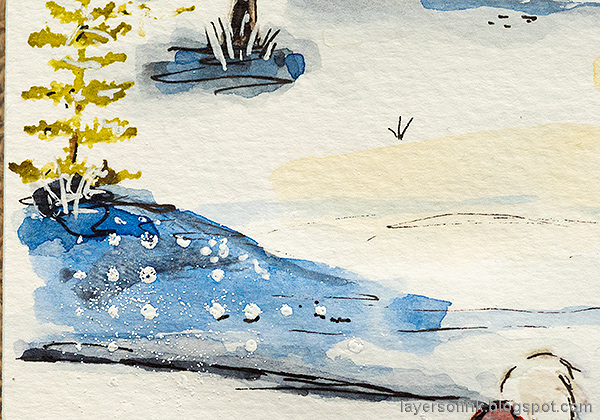 Layers of ink - Watercolor Snow Scene Tutorial by Anna-Karin Evaldsson. Snow textures.