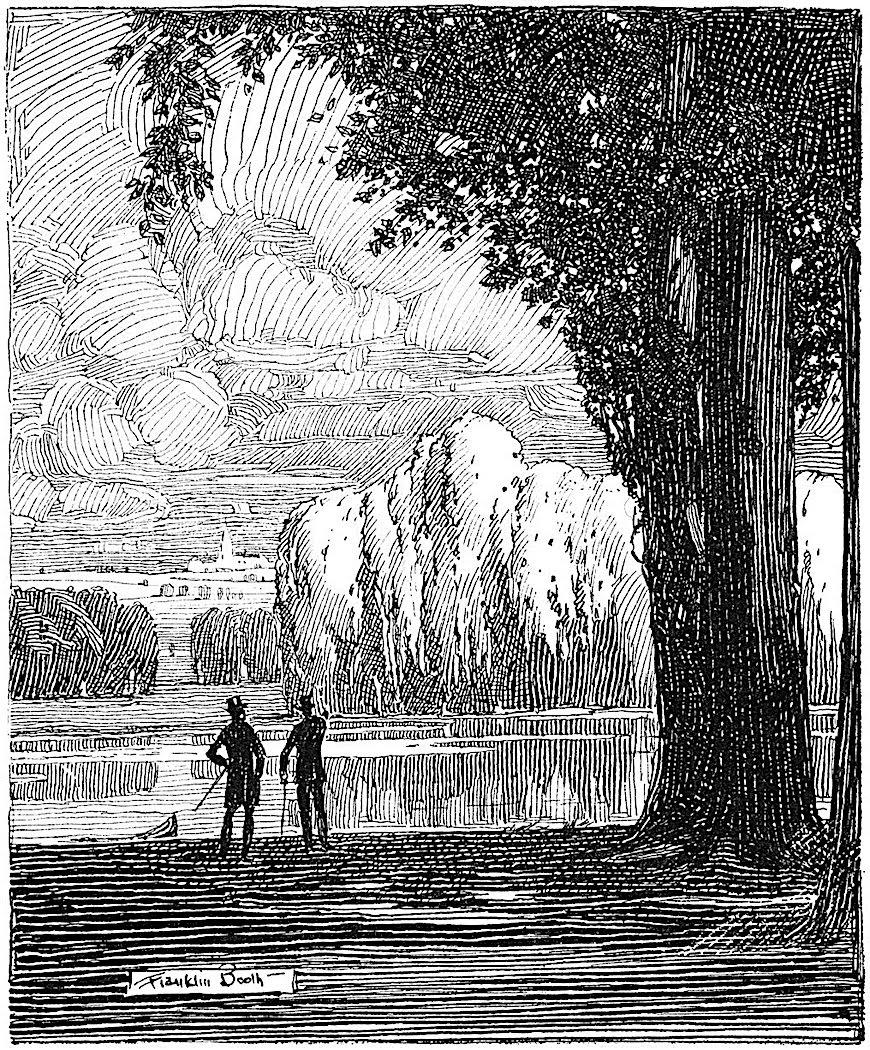 a Franklin Booth illustration of two men talking in a landscape