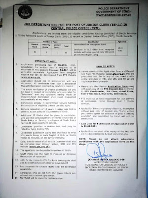 Police Department Government of Sindh Jobs 2021