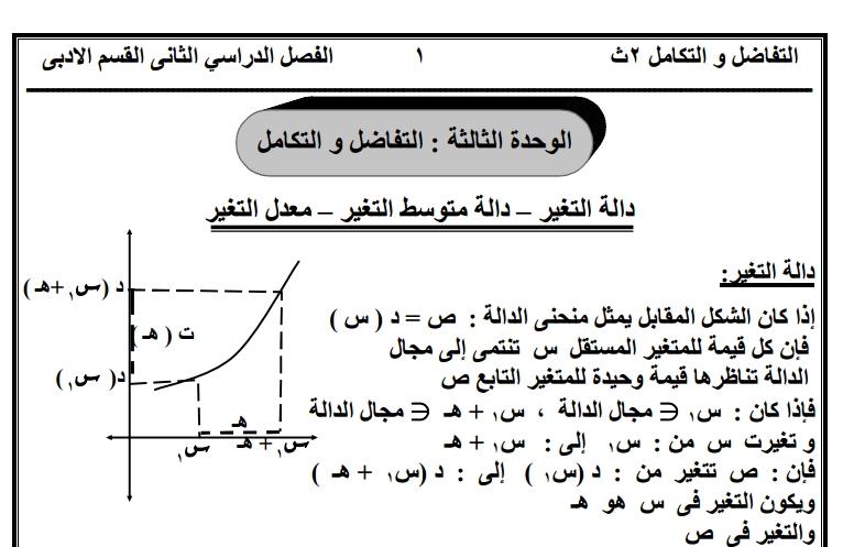 مذكرة تفاضل وتكامل للصف الثاني الثانوي ادبي لعام 2021