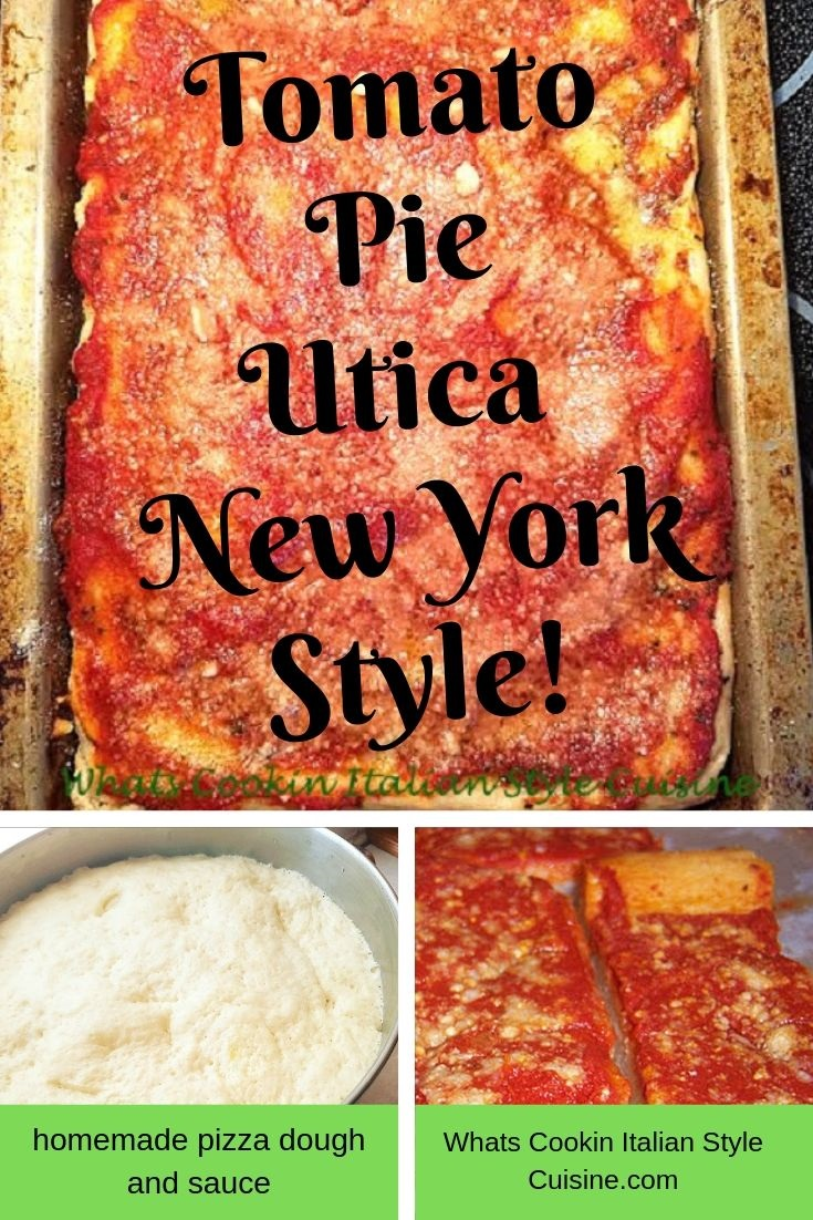 this is utica new york tomato pie homemade with pizza dough and sauce on top sprinkled with grated cheese in a sheet pan