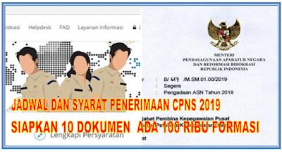 Jadwal Dan Syarat Penerimaan CPNS 2019 Siapkan 10 Dokumen  Ada 100 Ribu Formasi